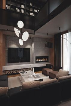 44 luxury living room design ideas with modern accent 5 ~ Beautiful House Lovers Living Room Modern, Living Room Designs, Living Room Decor, Cozy Living, Living Rooms, Painel Tv Sala Grande, Style Salon, Fireplace Design, Luxury Living