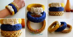 Knitted Bracelets KB 10 WINTER MOOD Set of 3 by Vladilenashandmade, $20.00