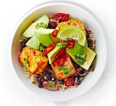 Mix up your midweek meals with this vegetarian Mexican brown rice and grilled tofu dinner - swap for chunks of chorizo to make it meaty