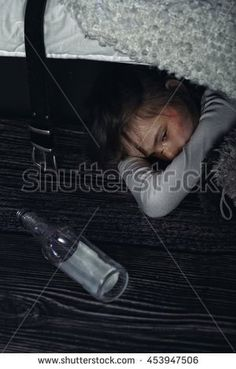 frightened child in an alcoholic family