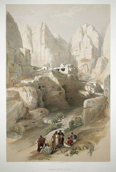 The Ravine, Petra by David Roberts Ancient Ruins, Ancient Art, Ancient Egypt, Fantasy Landscape, Landscape Art, Environment Painting, Egyptian Art, Environmental Art, Cool Landscapes