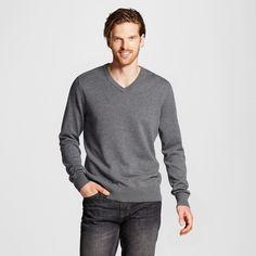 Men's V-Neck Sweater Light Grey XL - Merona