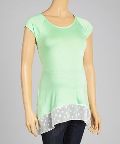 Look at this #zulilyfind! Due Time Maternity Mint Chiffon-Trim Maternity Scoop Neck Tee - Women by Due Time Maternity #zulilyfinds