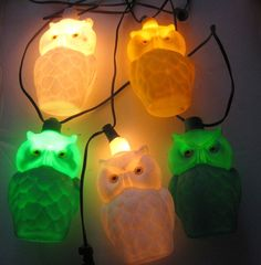 Vintage RV Camping Patio Owls Party Lanterns 5 String of Lights RETRO