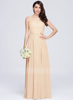 A-Line/Princess Scoop Neck Floor-Length Chiffon Bridesmaid Dress With Ruffle (007074681)