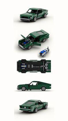 Lego brick build Ford Mustang Fastback 1968 Bullitt s… Ford Mustang Fastback 1968, Lego Autos, 1968 Chevy Truck, Lego Truck, Lego Speed Champions, Lego System, Cool Lego Creations, Lego Bionicle, Lego Design