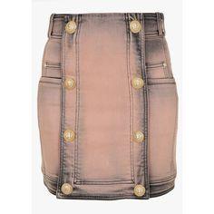 Balmain Treated cotton denim mini skirt ($1,180) ❤ liked on Polyvore featuring skirts, mini skirts, bottoms, mini skirt, peach skirt, grey mini skirt, zipper skirt and short mini skirts
