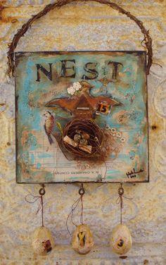 Altered ART Collage Nest BIRDS Eggs