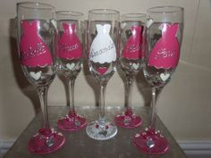 Personalised hand painted champagne flute bridesmaid bride groom maid of honour