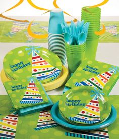 "My Paper Shop.com - Birthday Hats party supplies collection features a colorful party hat with vibrant stripes and polka dots with the phrase ""Happy Birthday"" printed on a green polka dot background.  This festive design is printed on a variety of tableware items, such as paper napkins, party plates, and plastic tablecloths.  The paper plates are constructed from economy grade board stock, however, they are manufactured in the U.S. and are perfect for lightweight meals and snacks.  All items…"