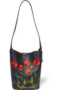 Stella McCartney | Embroidered faux leather shoulder bag | NET-A-PORTER.COM