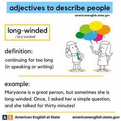 adjectives to describe people English Adjectives, English Idioms, English Vocabulary Words, English Phrases, English Words, English Lessons, English Grammar, English Tips, Teach English To Kids