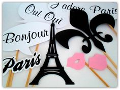 Props, Photobooth, Placas divertidas para fotografar. Paris, Torre Eiffel, beijo, flor de lis, fleur.