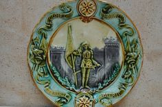 Antique French Majolica Plate Joan of Arc by LaManche on Etsy, vintage 1880-1920, 48.00
