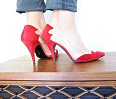 Vintage High Heels Size 6.5 Cranberry Red Suede 1980s Pumps Made in Spain by MaejeanVINTAGE, $30.00