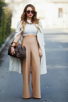 X_Camel Palazzos Coat: H&M / Top: NEW LOOK / Trousers: MISSGUIDED /  Bag: LOUIS VUITTON / Necklace: ZARA / Heels: TONY BIANCO /  Sunglasses: KAREN WALKER  Cashmere in Style
