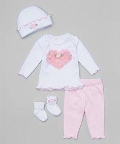 Love this White & Pink Rosette Heart Lapneck Tee Set - Infant on #zulily! #zulilyfinds