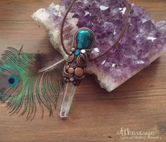 Necklace with rock crystal and Chrysocolla