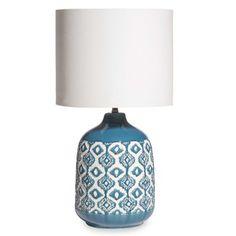 Lampe en céramique bleue abat-jour écru CAIXO