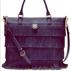 Tory Burch Navy Fringe Tote Suede with fringe navy bag! Super cute and sold out everywhere. Removable strap and inside zipper. Gold hardware. Tags have been removed because I wore once. Tory Burch Bags Totes