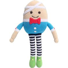 This stunning crocheted Humpty Dumpty toy is sure to be a huge hit with any child. He is made under fair trade conditions in rural Bangladesh making him a great ethical choice for a gift.    Beautifully made and quite a large toy measuring approx. 36cm tall. Suitable from birth.
