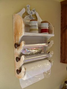 Vintage Inspired White Distressed White Wallnut French Paper Rack Dispenser White or distressed or natural ( with or without cutters) Farmhouse Kitchen Decor, Diy Kitchen, Kitchen Organization, Kitchen Storage, Kitchen Racks, Bathroom Storage, Organization Ideas, Organizing, Wood Projects