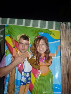 Beach themed party photo station?  This could be fun.... | We did this—a HUGE hit.  Definitely do a fun photo station for your (pre)teen's birthday party.  #TeenBirthdayParty #TweenParty