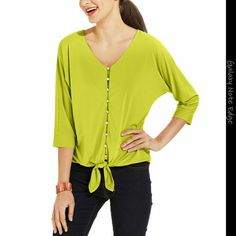 Button-Front Tie-Front Top NY Collection Button-Front Tie-Front Top Color : Limeade NY Collection Tops Button Down Shirts