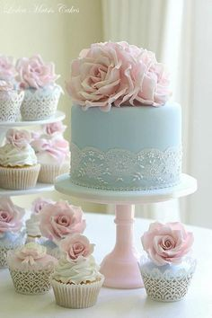 Positively Beautiful Blue  Cake & pink confection flower Cupcakes