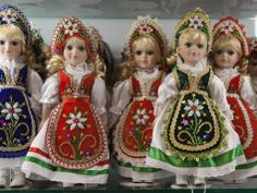 Souvenir Dolls in Traditional Hungarian Costumes, Budapest, Hungary, Europe Hungarian Embroidery, Straight Stitch, Beaded Embroidery, Folk Embroidery, Embroidery Patterns, Hand Puppets, Chain Stitch, Traditional Dresses, Fashion Dolls