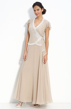 J Kara Beaded Mock Two Piece Crepe Gown available at #Nordstrom