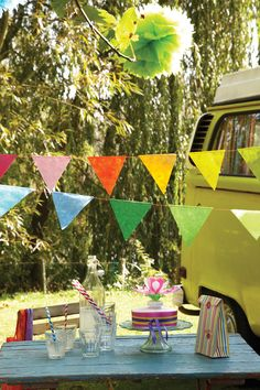 Colourful bunting (and camper van!)