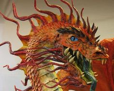 PAPER MACHE BLOG: The Year of the Paper Mache Dragon- scales and paint - this has to be Dan's most magnificent dragon EVER.  WOW.