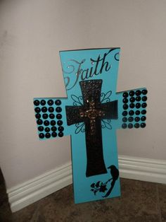 Custom Made Triple Stacked Cross  Turquoise
