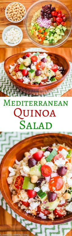 Mediterranean Quinoa Salad - this healthy salad has all the flavors of a Greek salad. It's filling, yet light - delicious and so good for you! ~ http://jeanetteshealthyliving.com