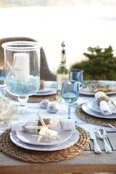 Lovely summer tablescape with beach accents.  #tablescapes  #summertablescapes homechanneltv.com