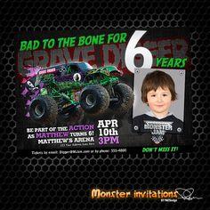 monster truck birthday invitations | Monster Truck Printable Birthday Invitation GRAVE DIGGER