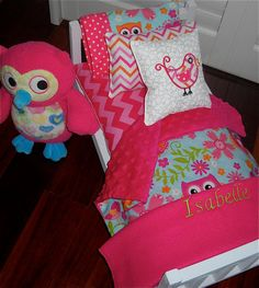 Ready To Ship American Girl Doll Furniture Wooden Bed W Owl Pink Chevron Minky…