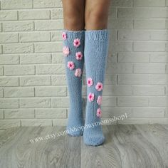 Items similar to Flower sock. Wool socks with flowers. Hand made socks with pink Flowers. on Etsy Crochet Kids Scarf, Baby Afghan Crochet Patterns, Crochet Beanie Pattern, Crochet Socks, Knitting Socks, Hand Knitting, Knit Crochet, Knit Socks, Baby Girl Winter Hats