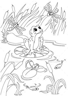 Camping Coloring Pages, Frog Coloring Pages, Farm Animal Coloring Pages, Dinosaur Coloring Pages, Free Printable Coloring Pages, Coloring Pages For Kids, Coloring Books, Pond Drawing, Frosch Illustration