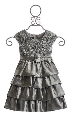 Isobella and Chloe Silver Holiday Dress for Girls in Hope
