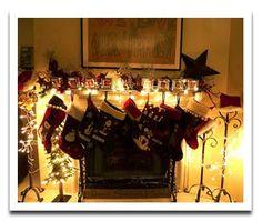 christmas mantel ideas - love the lights!