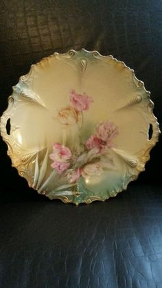 RS Prussia Floral Handled Plate-Marked #RSPrussia