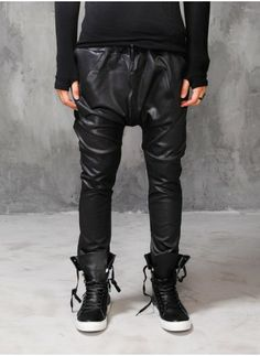 Mens Drop Crotch Slim Stretch Leather Pants at Fabrixquare $44