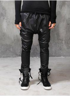 Mens Drop Crotch Slim Stretch Leather Pants at Fabrixquare $44