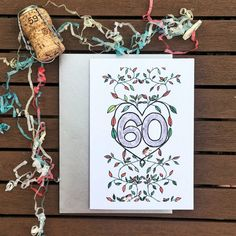 60th Leaves, Vines, Hedgehog, Silver, Green, Orange, Diamond Anniversary/Birthday. Hand-drawn A6 greeting card by PurpleWatermelonCo