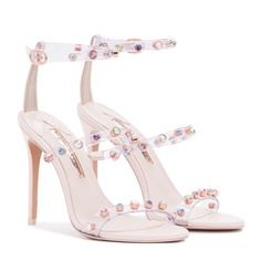 Introducing our Rosalind Gem sandal featuring clear vinyl multi straps embellished with coloured gems on a black suede heel. Sparkly Wedding Shoes, Unique Wedding Shoes, Designer Wedding Shoes, Suede Heels, Shoes Heels, Princess Shoes, Beautiful High Heels, Latest Shoes, Jimmy Choo Shoes