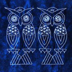 Sashiko - Chinese Birds - Two Owls : Shibori Dragon