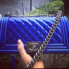 Chanel Blue Metallic Boy Bag - Spring Summer 2014