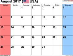 august 2017 calendar usa holidays
